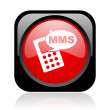 Stock Photo: Mms black and red square web glossy icon