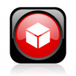Box black and red square web glossy icon — Stock Photo