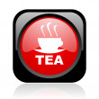 Tea black and red square web glossy icon — Stockfoto