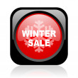 Winter sale black and red square web glossy icon — Foto de Stock