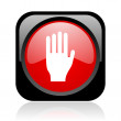 Stop black and red square web glossy icon — Stock Photo #23815895
