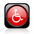 Accessibility black and red square web glossy icon — Stock Photo