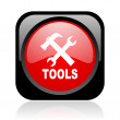 Tools black and red square web glossy icon - Stock Photo