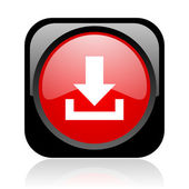 Het glanzende zwarte en rode vierkante web icon downloaden — Stockfoto