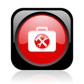 Toolkit black and red square web glossy icon — Stock Photo