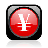 Yen black and red square web glossy icon — Stock Photo