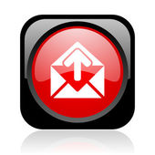 Mail black and red square web glossy icon — Stock Photo