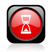 Time black and red square web glossy icon — Stock Photo
