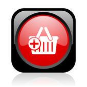 Shopping cart black och red square web blanka ikonen — Stockfoto