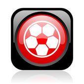Soccer black and red square web glossy icon — Stock Photo