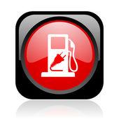Combustível preto e vermelho quadrado brilhante ícone web — Foto Stock