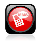 Mms black and red square web glossy icon — Stock Photo