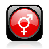 Sex black and red square web glossy icon — Stock Photo