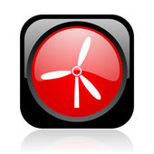 Windmill black and red square web glossy icon — Stock Photo