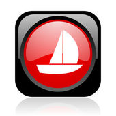 Yacht black and red square web glossy icon — Stock Photo