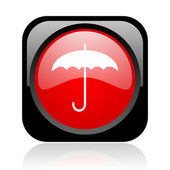 Umbrella black and red square web glossy icon — Stock Photo