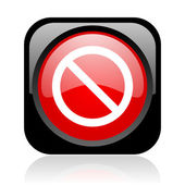 Access denied black and red square web glossy icon — Stock Photo
