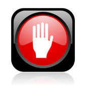 Stop black and red square web glossy icon — Stock Photo
