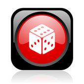 Dice black and red square web glossy icon — Stock Photo