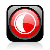 Moon black and red square web glossy icon — Stock Photo