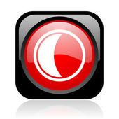 Icône brillant noir et rouge web carré de lune — Photo