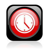 Clock black and red square web glossy icon — Stock Photo