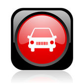 Car black and red square web glossy icon — Stock Photo