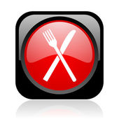 Food black and red square web glossy icon — Stock Photo