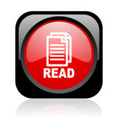 Read black and red square web glossy icon — Stock Photo