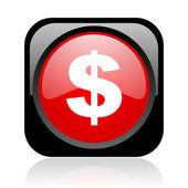 Dollar zwart en rood vierkant web glanzende pictogram — Stockfoto