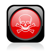 Skull black and red square web glossy icon — Stock Photo