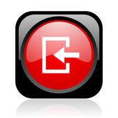 Enter black and red square web glossy icon — Stock Photo