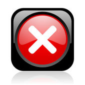 Cancel black and red square web glossy icon — Stock Photo