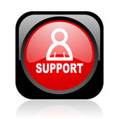 Support black and red square web glossy icon — Stock Photo