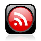 Rss zwart en rood vierkant web glanzende pictogram — Stockfoto