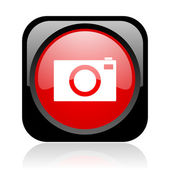 Camera black and red square web glossy icon — Stock Photo