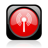 Wifi black and red square web glossy icon — Stock Photo
