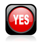 Yes black and red square web glossy icon — Photo