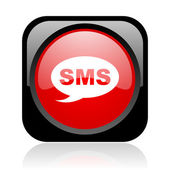 Sms black and red square web glossy icon — Stock Photo
