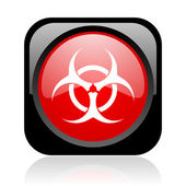 Virus black and red square web glossy icon — Stock Photo