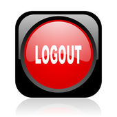 Logout black and red square web glossy icon — Stock Photo
