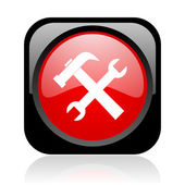 Tools black and red square web glossy icon — Stock Photo