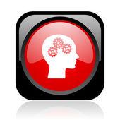 頭の黒と赤の正方形ウェブ光沢のあるアイコン — ストック写真
