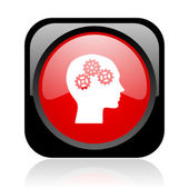 Head black and red square web glossy icon — Stock Photo