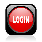 Login black and red square web glossy icon — Stock Photo