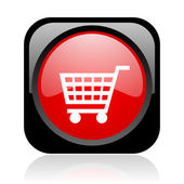Shopping cart negro y rojo cuadrado icono brillante web — Foto de Stock