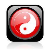 Ying yang black and red square web glossy icon — Stock Photo