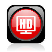 Hd display black and red square web glossy icon — Stock Photo