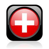 Ícone brilhante de emergência web quadrado preto e vermelho — Fotografia Stock