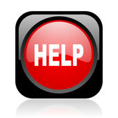 Help black and red square web glossy icon — Stock Photo